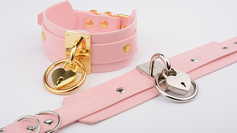 Chic Kawaii Handmade Pink Faux Oversized PU Leather Necklace For Women Cute Romantic Heart Collar O Round Collares With Lock Key 10