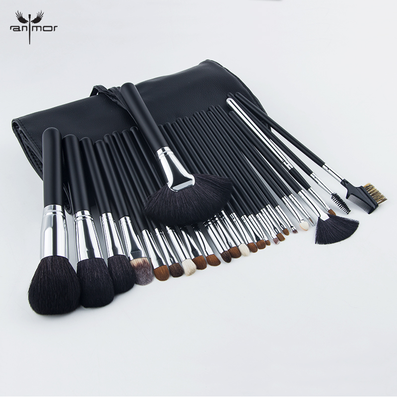 Professional Makeup Brushes Set Cosmetic Foundation 26 PCS Natural Hair Make Up Brushes With Black Bag free shipping by ems dhl 50 set lot new fiber hairy 32 pcs professional makeup brushes cosmetic set black leather bag