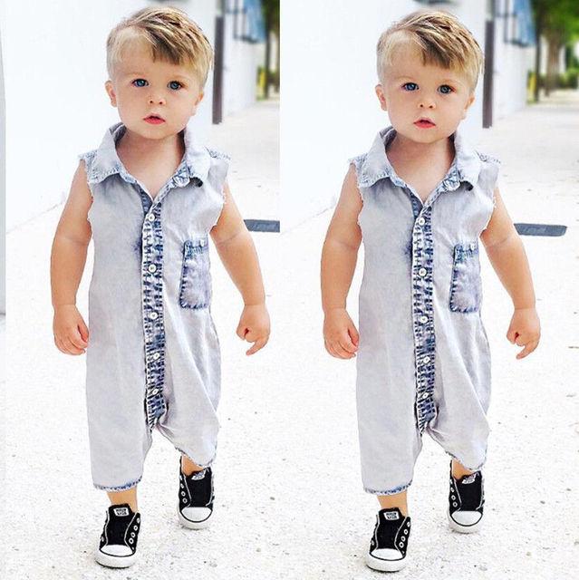 0589da3c382a New Summer 2017 Boys Kids Denim Rompers Newborn Baby Sleeveless Jeans  Romper Infant Boy Children Jumpsuit Clothes Outfit
