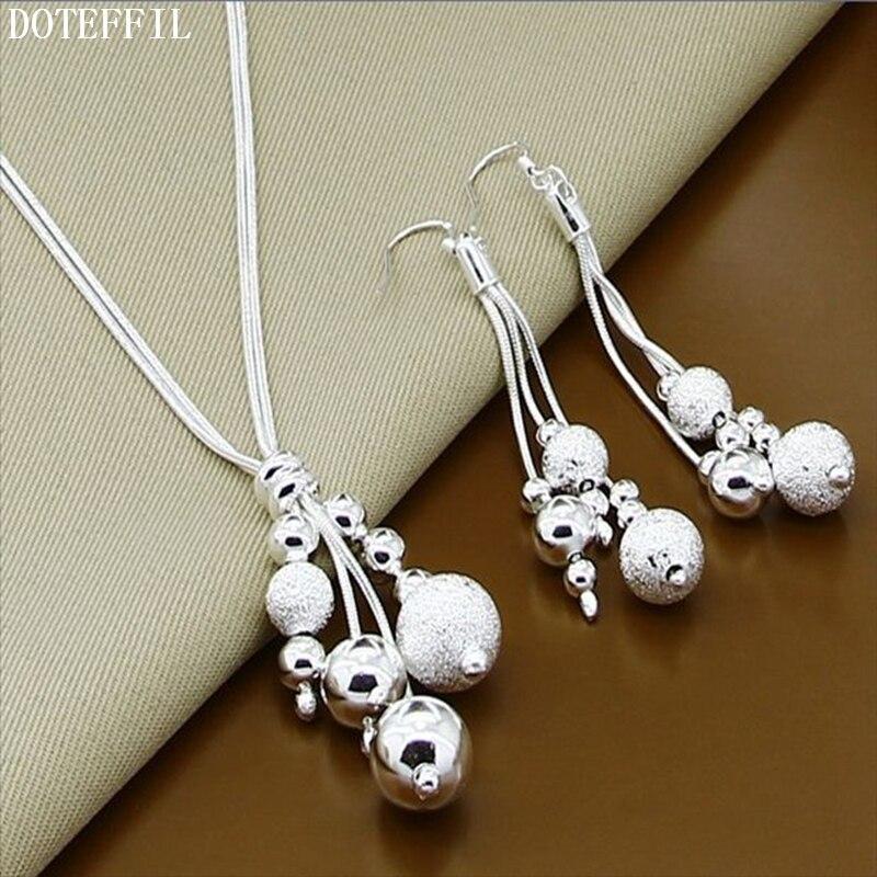 Новая романтическая мода серьги Ожерелья для мужчин 925 стерлингов Серебряные ювелирные изделия установить более трех линий Бусины серьги О...