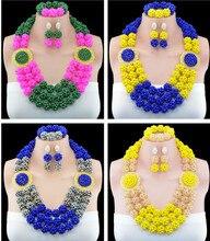 Fashion Crystal Ball Costume Jewellery Nigerian Wedding African Beads Jewelry Set 10053