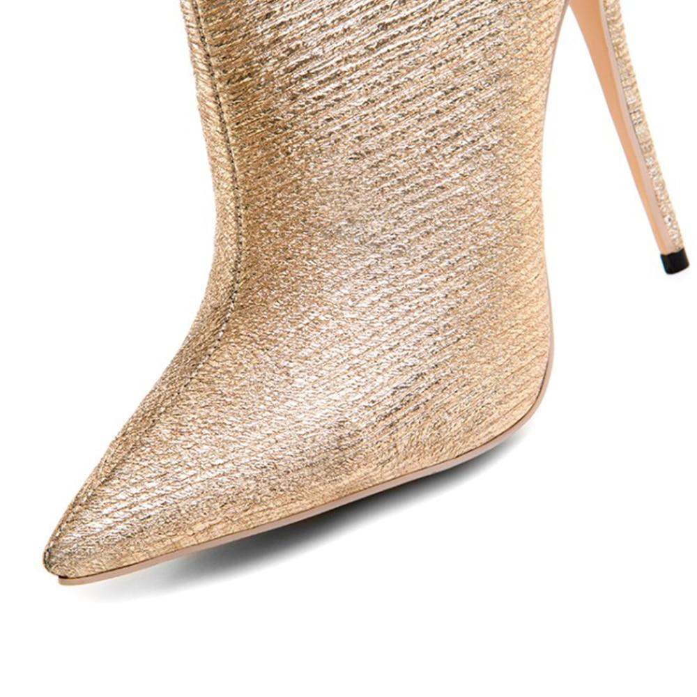 Cru Hauts Taille 12 34 Robe Talons Pointu Femmes Weiqiaona Chaussures Sexy 43 Or Cm Beaux Dames De Courtes Bottes Éclat Bout cF1lKJT