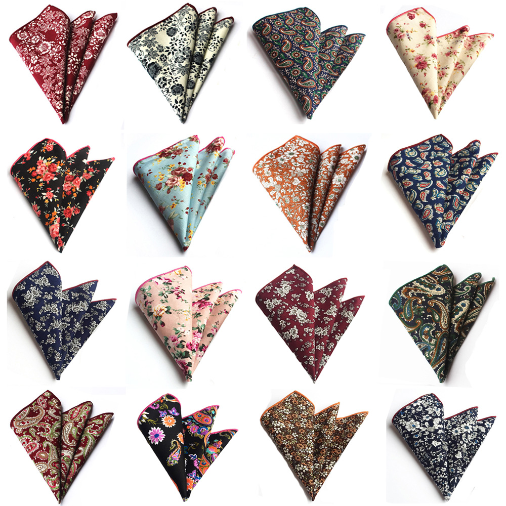 Men Fashion Flowers Paisley Pattern Cotton Handkerchief Hanky Pocket Square  BWTHZ0219