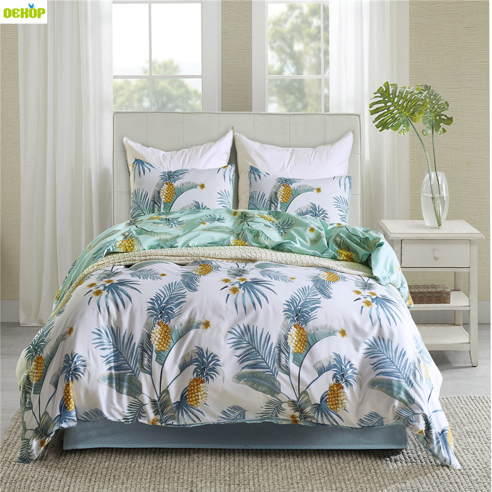 Satin Duvet Cover Us 69 98 Dekop Bedding Set Queen Plant Pattern Comforter Bedding Sets King Size Satin Duvet Cover Flower Bed Set Luxury Home Textile In Bedding Sets