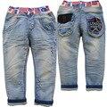 3848 весной детские джинсы осенью джинсы мальчиков голубой мягкая джинсовые девушок мальчика свободного покроя брюки 2016 мыть не выцветает дети джинсы