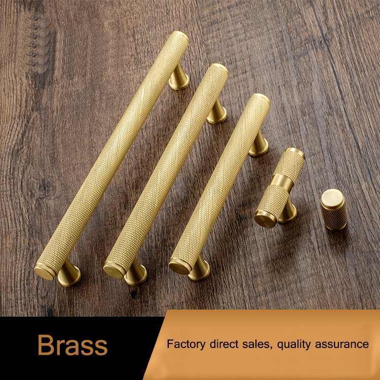 Satin Brass Knurled cabinet handles Solid Brass Kitchen ...