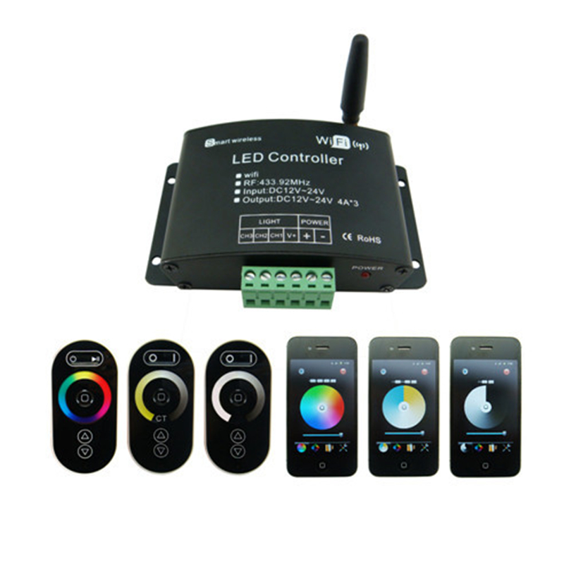 Wifi RF Remote 433.92Mhz DC12-24V 12A RGB Smartphone Smart Wireless LED Lighting Wifi Controller for Strips Light dc 12 24v wireless rf touch panel led rgb dimmer remote controller for rgb led strips
