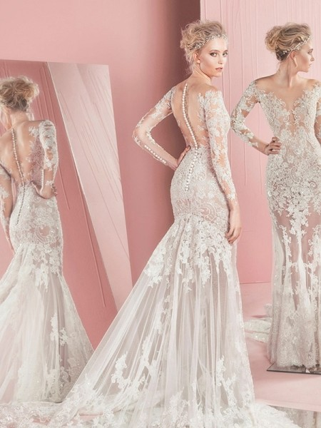 2018 High Quality Sexy Mermaid V-Neck With Appliques Bridal Gown Vestidos De Novia Custom Made Mother Of The Bride Dresses