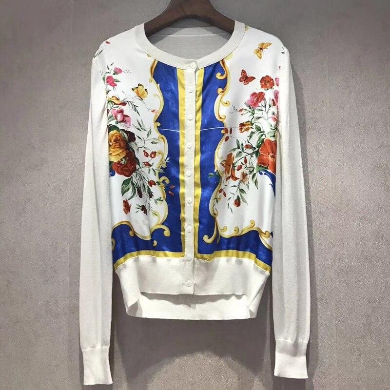 Dressnow women sweater cardigans knitted coat 2018 spring autumn long sleeve cardigan fashion print cardigan high quality