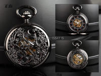20pcs Lot DHL Free Shipping Black Magpie High Quality Mechanical Pocket Watch Flip Pocket Watch Wholesale