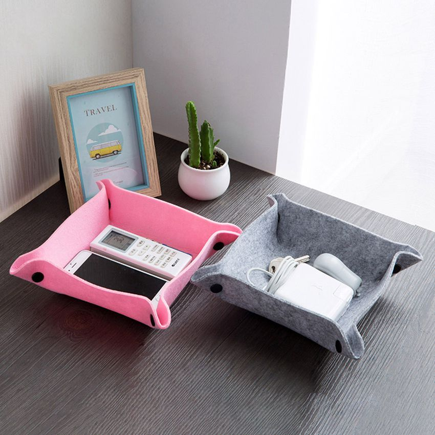 Folding Wool Felts Desk Mini Storage Box Jewelry Container Makeup Organizer Case Handmade DIY Assembly Organizer Box For Office