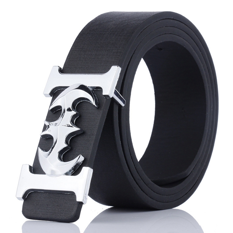KAWEIDA 2018 Fashion Belts Luxury Brand Male Silver Batman Luxe Alloy Smooth Buckle Belt PU Casual Leather Belt For Men Ceinture