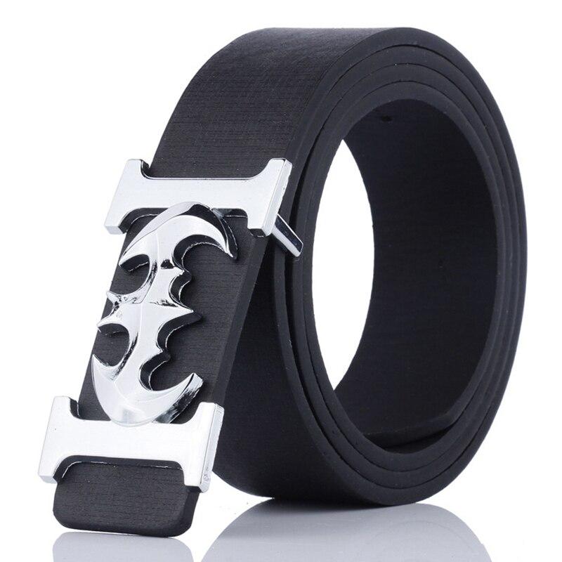 KAWEIDA 2018 Fashion Belts Luxury Brand Male Silver Batman Luxe Alloy Smooth Buckle Belt PU Casual Leather Belt for Men Ceinture
