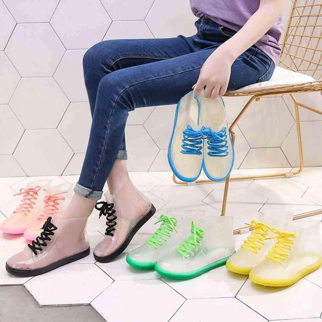 Wenjie brother PVC mujer Botas de lluvia transparentes de goma con cordones botas de tobillo impermeable Casual comodidad señoras Martin botas Zapatos