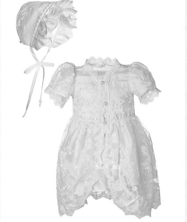 Noble High Quality Baby Girl Boy Christening Dress White Ivory Baptism Gown Lace Applique With Bonnet 0-24month