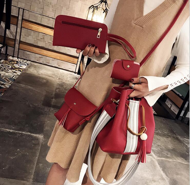 4pcs/1lot Stripe Strap Tassel Casual Totes PU Fashion Composite Bag Women Shoulder Bag #2039 Woman Crossbody Bag Christmas Gift