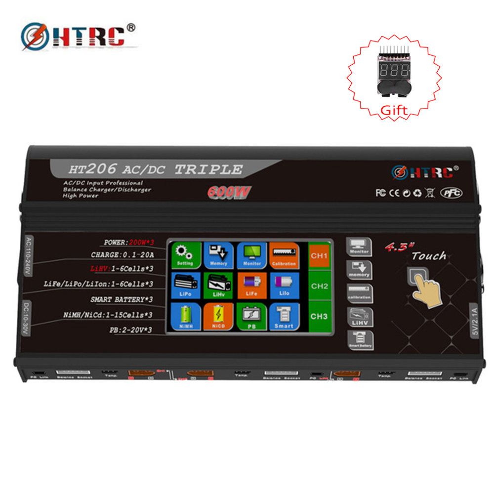 HTRC HT206 TRI RC Balance Charger  AC/DC  200W*3 20A*3 Triple Port 4.3 Color LCD Touch Screen for Lilon/LiPo/LiFe/LiHV BatteryHTRC HT206 TRI RC Balance Charger  AC/DC  200W*3 20A*3 Triple Port 4.3 Color LCD Touch Screen for Lilon/LiPo/LiFe/LiHV Battery