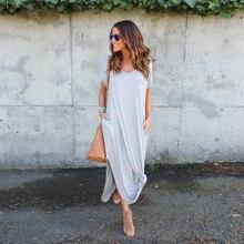 Long V Neck Casual Summer Pockets Solid Dress Short Sleeves Split Asymmetrical Plus Size Vestidos Verano Maxi Loose Beach Dress plus asymmetrical solid dress