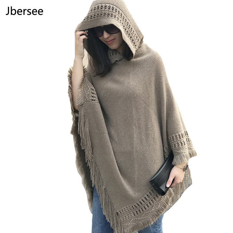 Jbersee Poncho Winter Scarf 2018 Women's Luxury Brand Winter Scarf Warm Acrylic Scarves Women Fashion Tassels Pashmina WN029