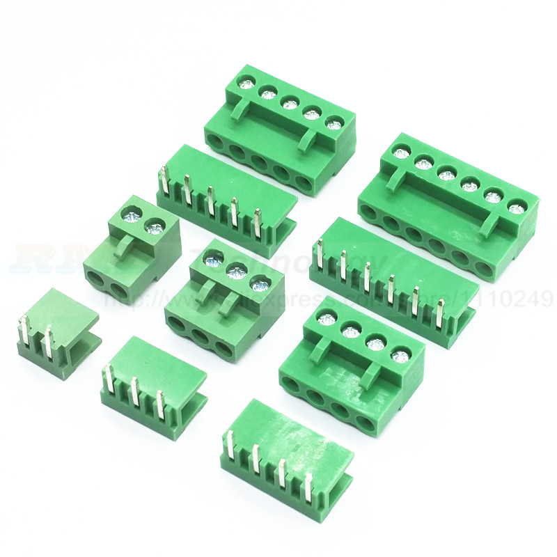 10 sets/lot HT5.08 2 3 4 5pin Right angle Terminal plug type 300V 10A KF2EDGK 5.08mm pitch PCB connector screw terminal block 2 sets lot