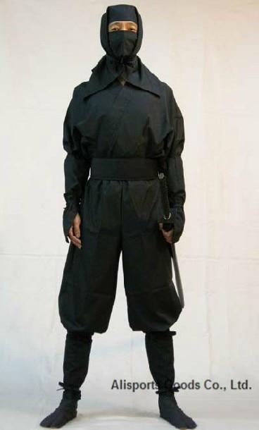 Augstākās kvalitātes melnā Ninja Uniform Suit Top bikses maska - Fitnesa un kultūrisms
