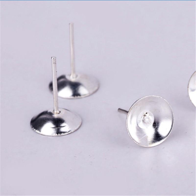 100pcs/lot Silver Color 4/6/8mm Stud Earrrings Blank Tray Base Bezel Fit Cabochon DIY Earring Findings Components F1763