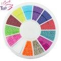 12 contas cor de Metal Studs suprimentos para unhas projeto 6 * 6 cm roda Caviar bola Diy charme 3D Nail Art decoração pedrinhas ZP224