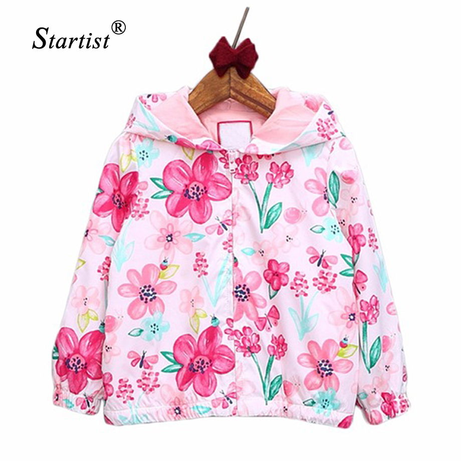 Baby Girls Coats 2017 Spring Autumn Baby Jackets Hooded Flower Printing Baby Outerwear & Coats Kids Children Clothing 4-24M