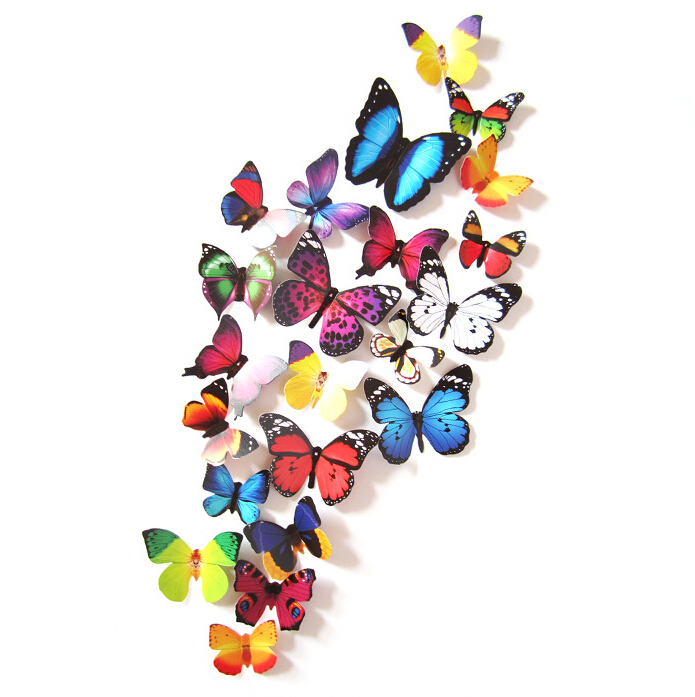 3D Butterfly Wall Stickers /& Magnetic Decals Home Room Decor 24pcs 2 sets