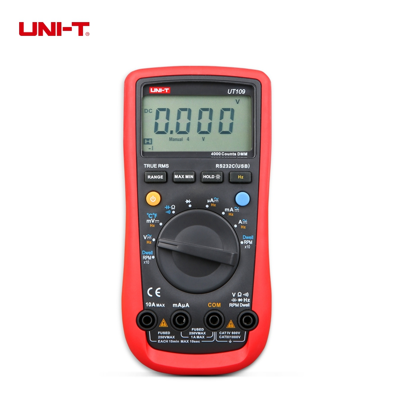 UNI-T UT109 Handheld Automotive Multipurpose Meter Auto Range Digital Multimeters AC DC Current Resistance Diode Tester