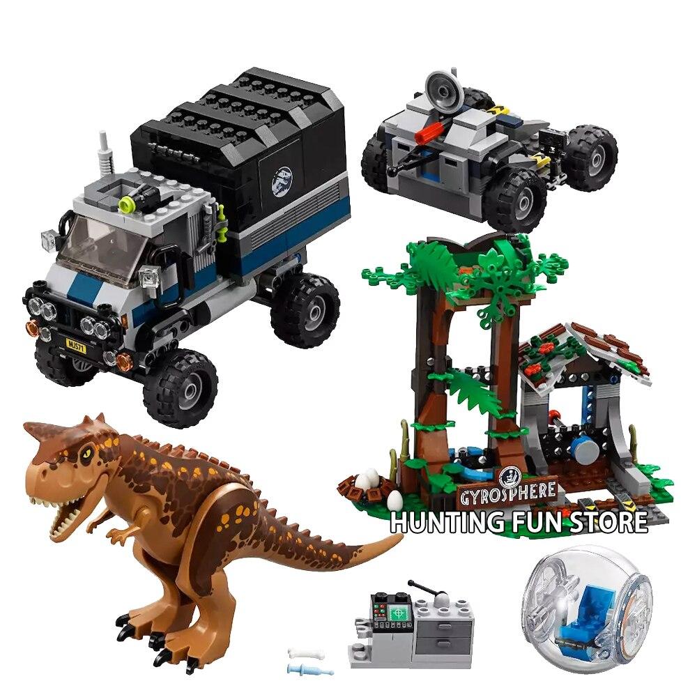 648 Pcs Monde Jurassique Parc 2 Carnotaurus Gyrosphère Évasion Dinosaure Dragon Camion Chiffres Blocs de Construction Jouets Enfant Cadeau Fit 75929