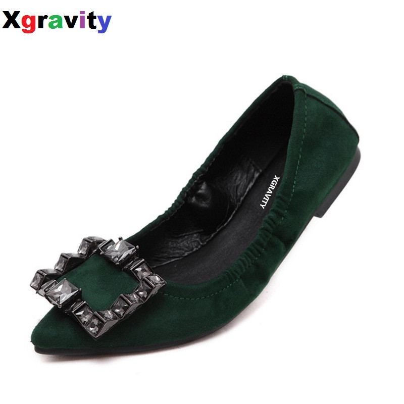 2018 Summer Autumn New Fashion Pointed Toe Casual Flat Shoes Elegant Crystal Lock Ladies Slip On Flats Shoes Woman Footwear C125 2017 new fashion spring summer boat shoes women candy color flats pointed toe slip on flat fashion casual plus size pu shoes