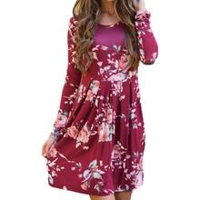 Casual Loose 2019 Sleeve Women Dress new Boho Floral Print P