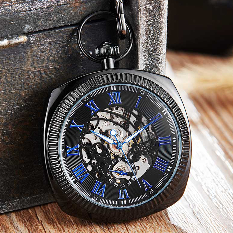 Antique Black Mechanical Pocket Watch Men Women Roman Numerals Dial Clock Luxury Golden Skeleton FOB Chain Watches Drop Ship