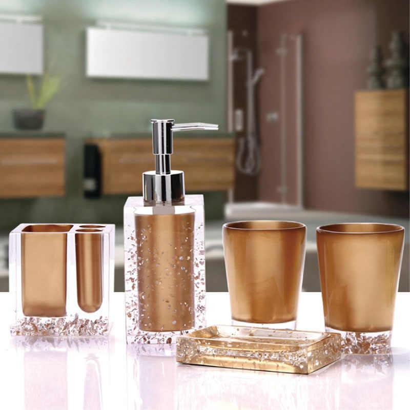 5 sztuk żywicy zestaw do kąpieli akcesoria łazienkowe mydelniczka + szczoteczka do zębów uchwyt + pompa dozownika balsamu + kubki gorąca sprzedaż