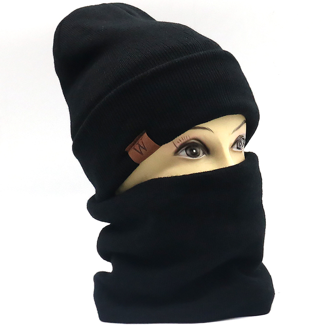 d8d95c14a57 Autumn Winter New W leather label beanie cap with Scarf cotton knitted hat  with wool inside