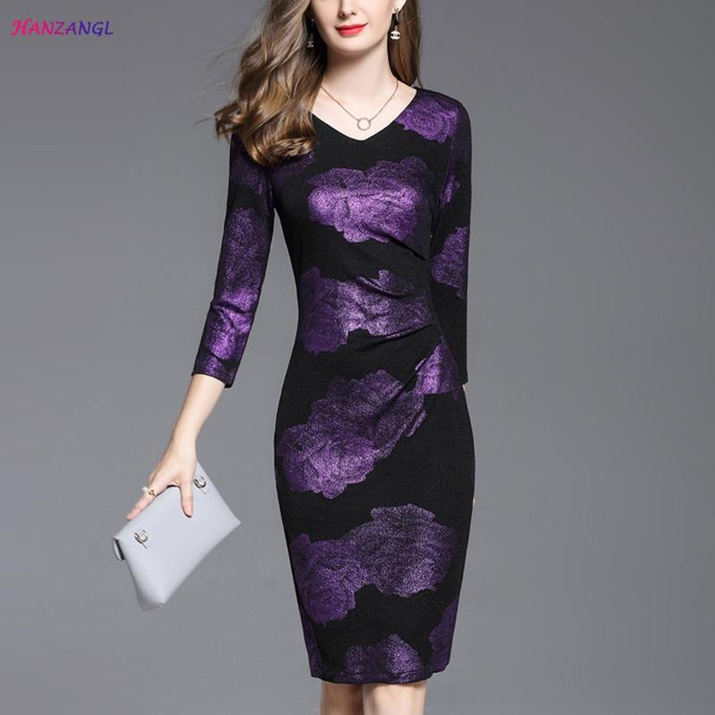 HANZANGL New 2017 Womens Autumn Dress Wrist Sleeve V neck Elegant Vintage Office Dress Casual Party