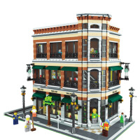 Doinbby 15017 4616Pcs City Street Creator Starbucks Bookstore Cafe Model Building Kit Block Bricks Children Gifts