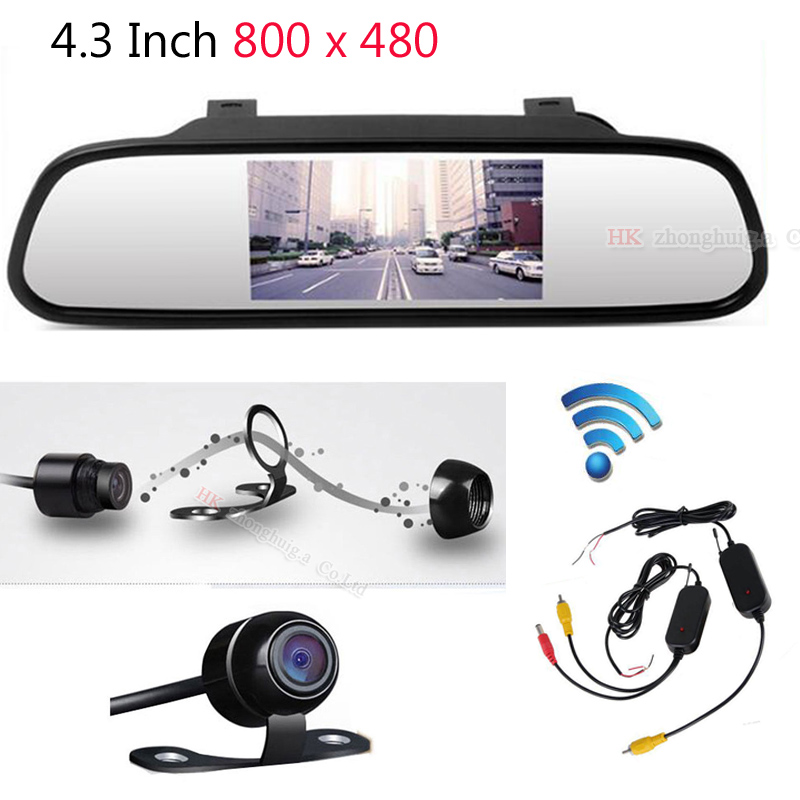 4.3 inch Car Rearview Mirror Monitor Auto Parking Video+Night Vision Backup 2.4g Wireless Camera CCD Car Rear View Camera    1