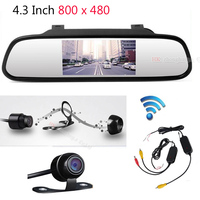 4.3 inch Car Rearview Mirror Monitor Auto Parking Video+Night Vision Backup 2.4g Wireless Camera CCD Car Rear View Camera