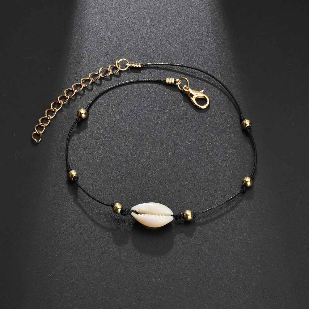 S170 богемная натуральная морская раковина раковины женские браслеты для щиколотки браслет на ногу цепочка с ракушкой Золотой ножной браслет в стиле «Бохо» Пляжная бижутерия для ног