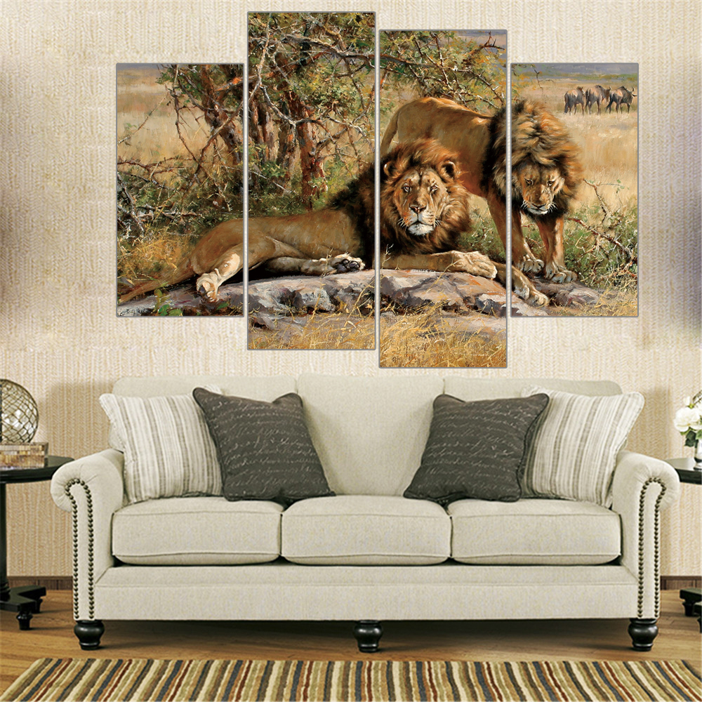 Modern Oil Painting Lions King on Canvas Animal Home Decoration Frameless Painting Canvas Picture Unique Christmas Gift 4 Pieces