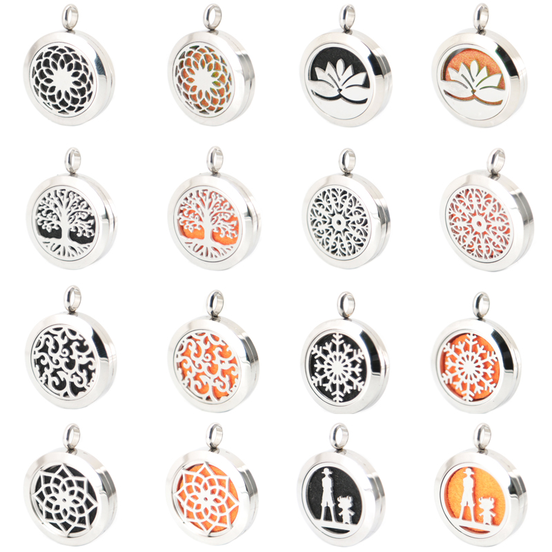 Silver Jewelry 25mm Aromatherapy Essential Oils Stainless Steel Neckalce Pendant Perfume Diffuser Locket free 10pcs Felt Pads