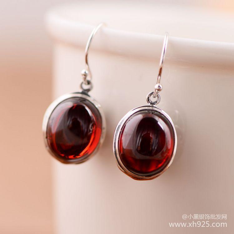 The little silver 925 sterling silver jewelry garnet Cute little cherry Women earrings