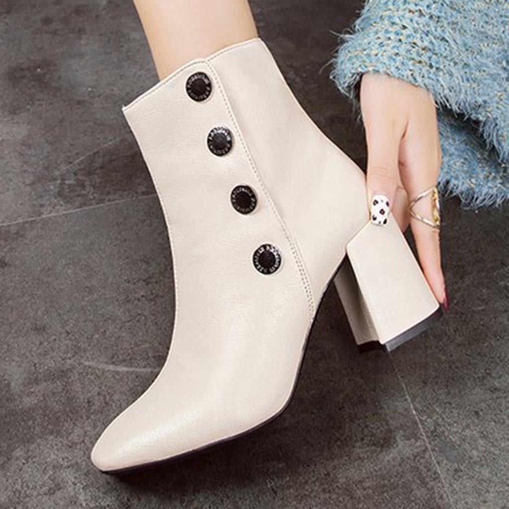 Giày Bốt nữ Ấm Áp Fretwork Gót Mùa Đông Retro Khóa Sang Trọng Ngắn Bên Trong Giày Giày Da PU Giày Casual Nữ C50 #