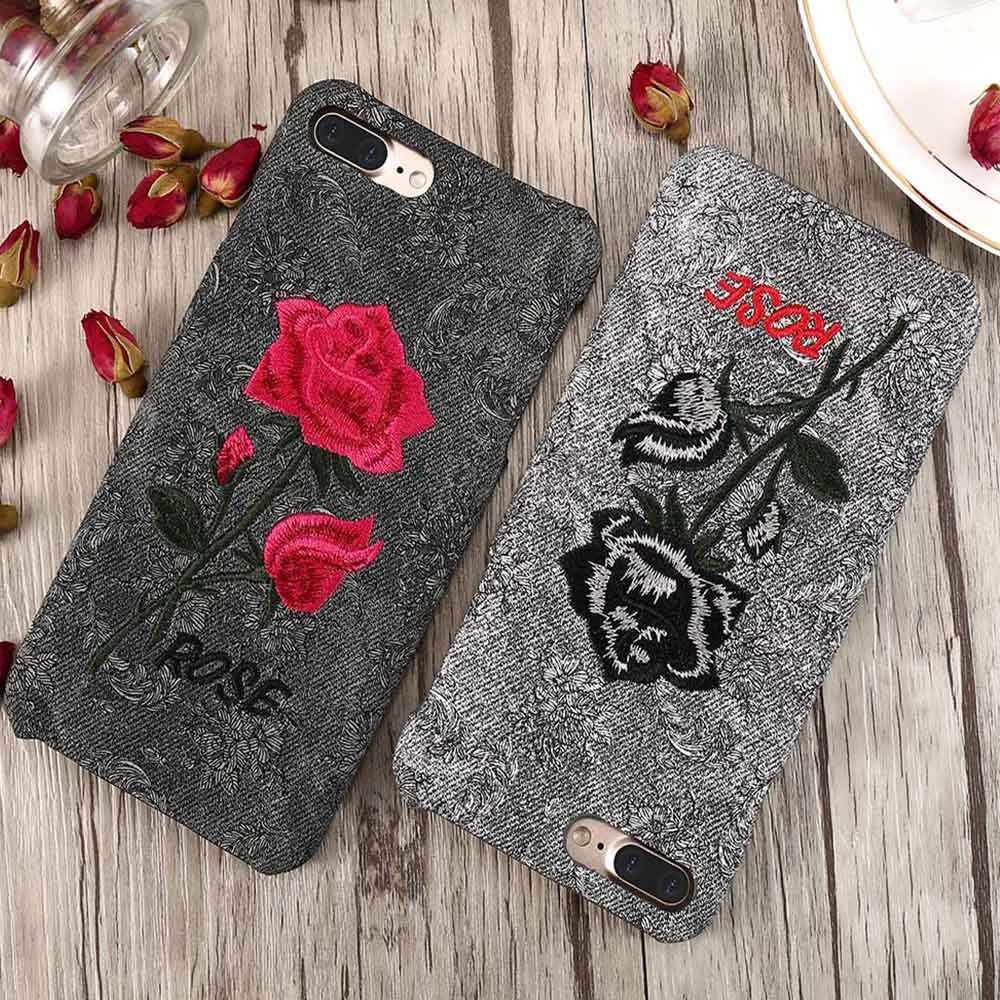 KISSCASE 3D Rose Patterned Case For iPhone 6S 6 7 8 Plus X 10 Cover Embroidery Floral Phone Cases For iPhone 6S 5S 5 SE X Shell