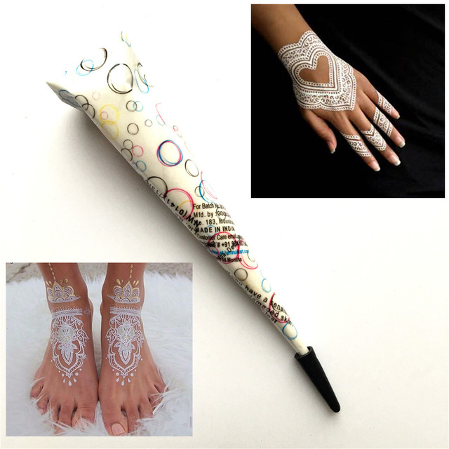Putih India Tato Mehndi Henna Paste Cone Untuk Pernikahan Henna