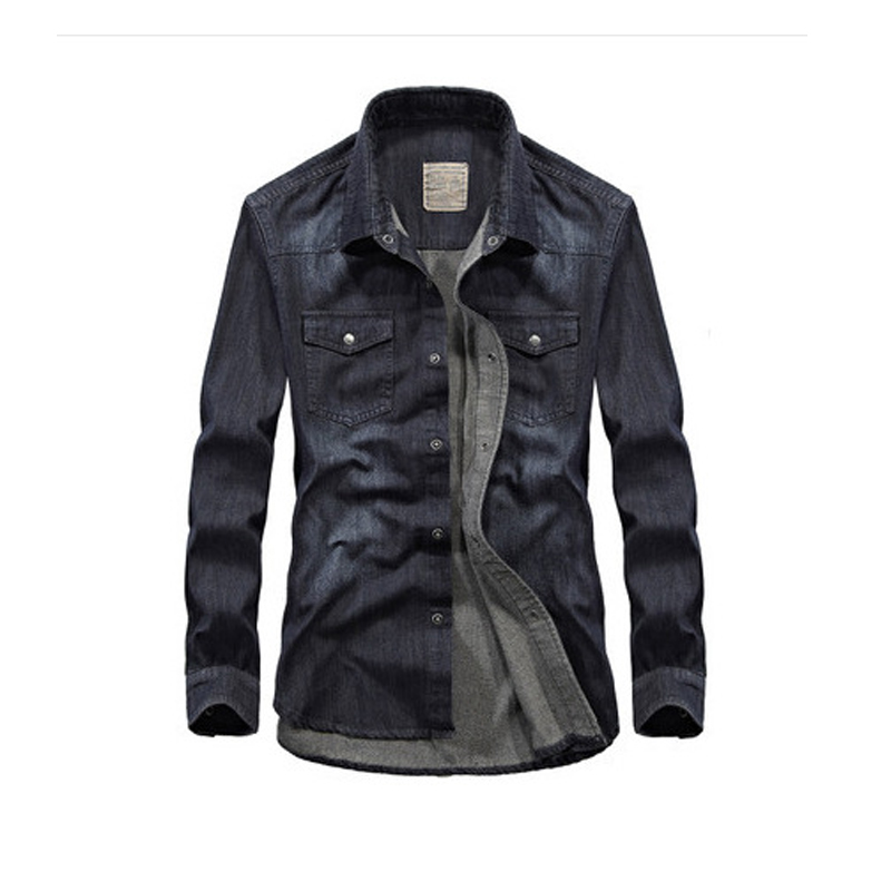 Plus Size M-4xl Classic Denim Shirt Men Brand Mens Tops Pockets Leisure Long Sleeve Men's Jeans Shirts Camisa Masculina Dropship