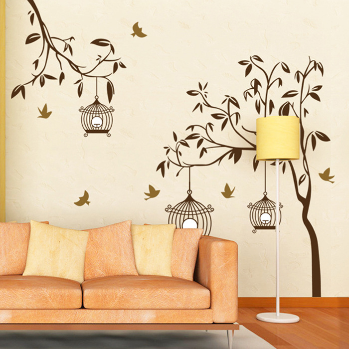 Buy lp decorative removable tree birdcage vinyl wall stickers mural decal for for Poster mural paysage pas cher