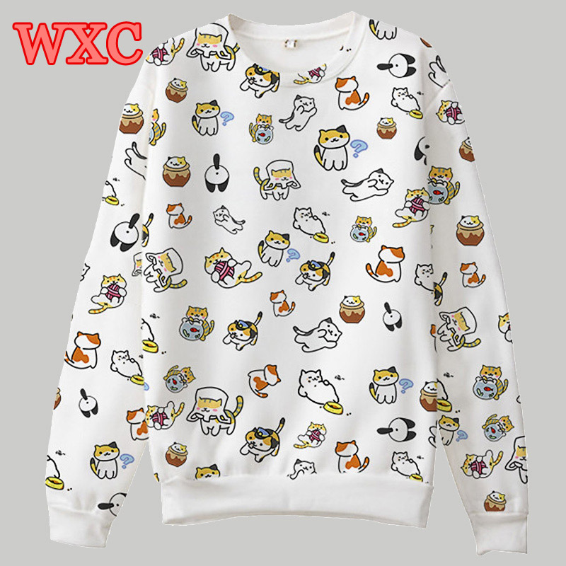 Cat Printed Women Hoodies Neko Atsume Pullover Sweatshirt Harajuku Tops Cat backyard Long Sleeve Japaneses Kawaii Coat WXC ...